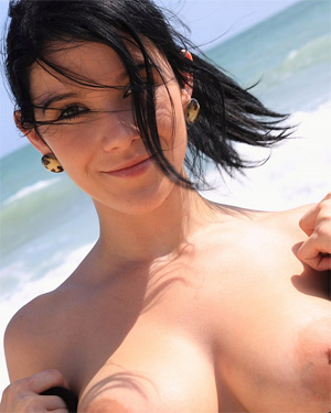 Adrienne Black Having Fun On The Beach