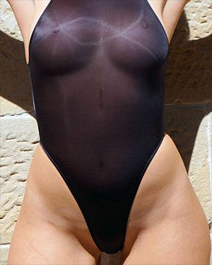 Alexis Wears A See Thru Swimsuit