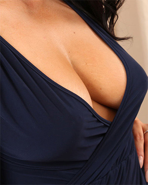 Ashley Blue Dress Cleavage