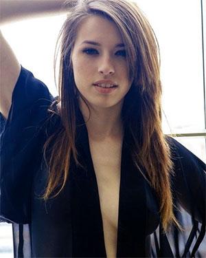 Caitlin McSwain Silk Robe Boobs