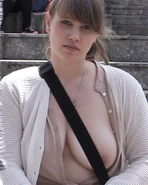 Busty College Girl Studying Topless
