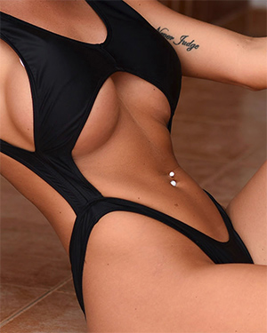 Dani Anderson Black Bodysuit Model