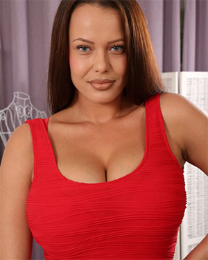 Elle Faye Red Dress Boobs