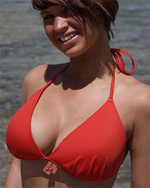 Kirstie Red Bikini Titties Flaunt It