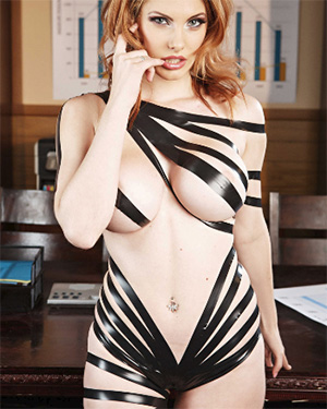 Lilith Lust wrapped up in tape