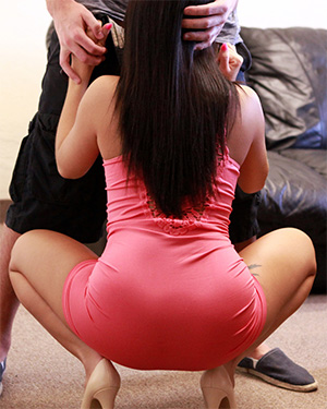 Megan Rain gets on her knees