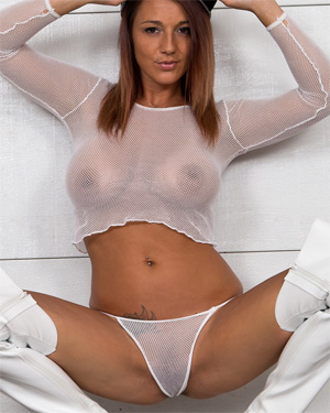 Nikki Sims White Mesh Top and Panties