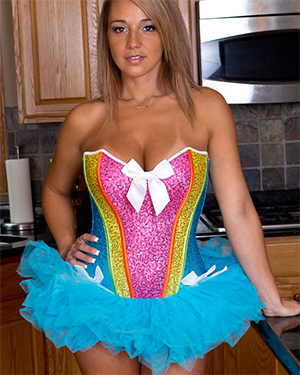 Nikki Sims Rainbow Corset and Tutu