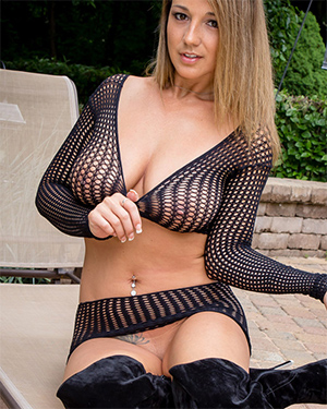 Nikki Sims Black Fishnet Tits