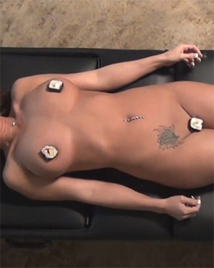 Nikki Sims nude sushi video
