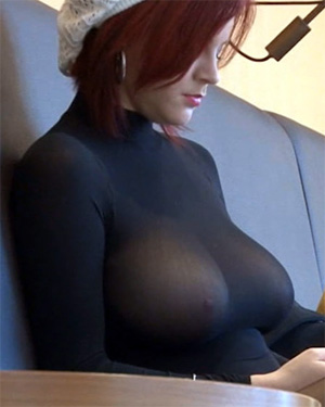 Frisky Redhead Sheer Top Boobs Frivolous Dress Order