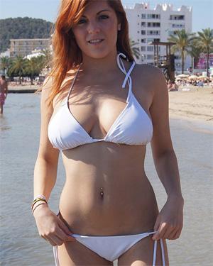 Rosie Sexy Redhead Tiny Bikini Flaunt It