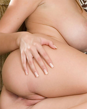Shay Laren stripping nude on the couch