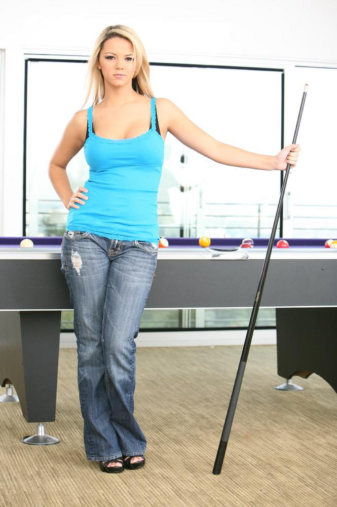Nude cutie on billiard table something also