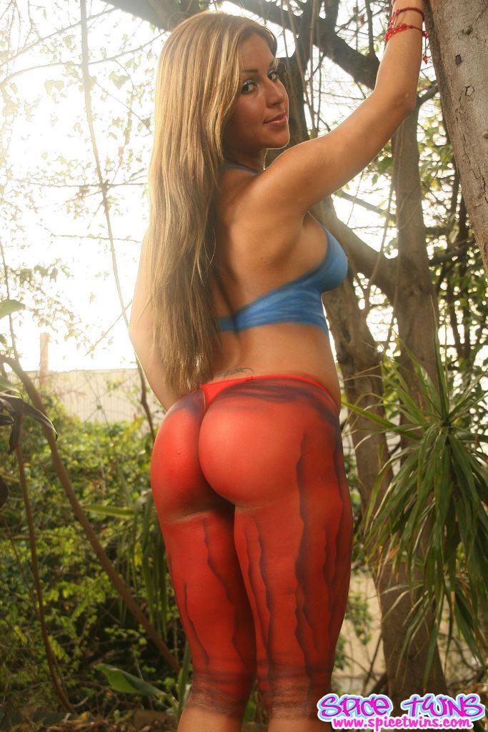 Blue bikini model