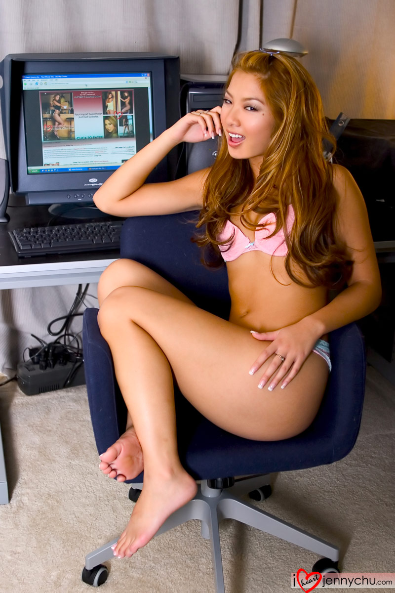 asian on computer Naked