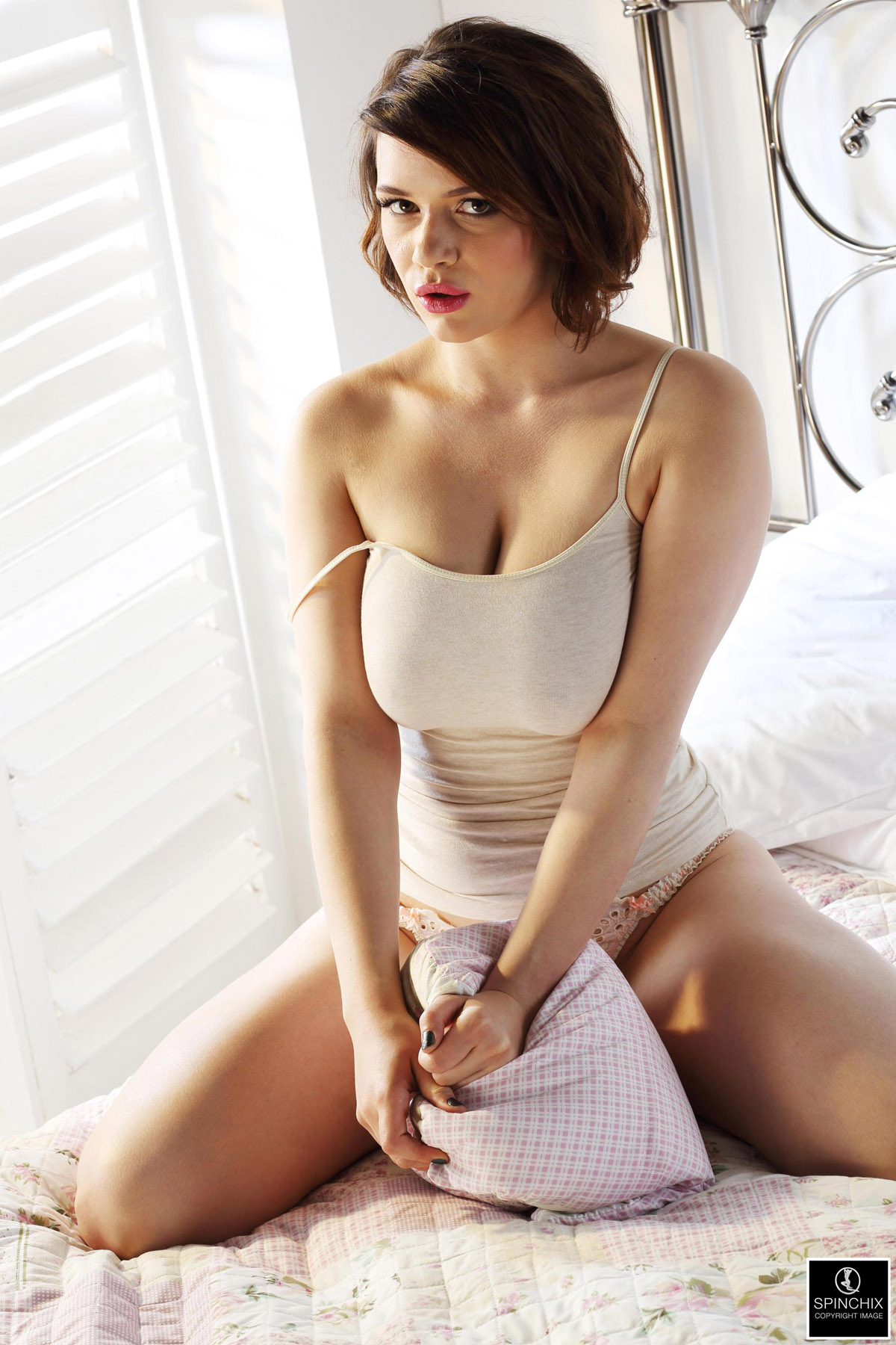 Asian business woman groping