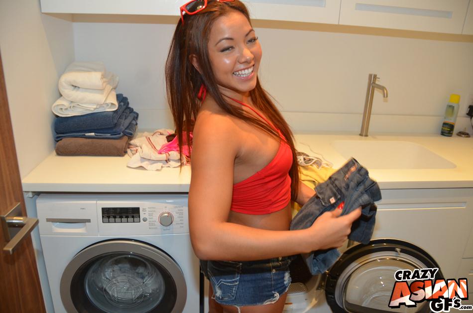 Laundry laundromat naked at