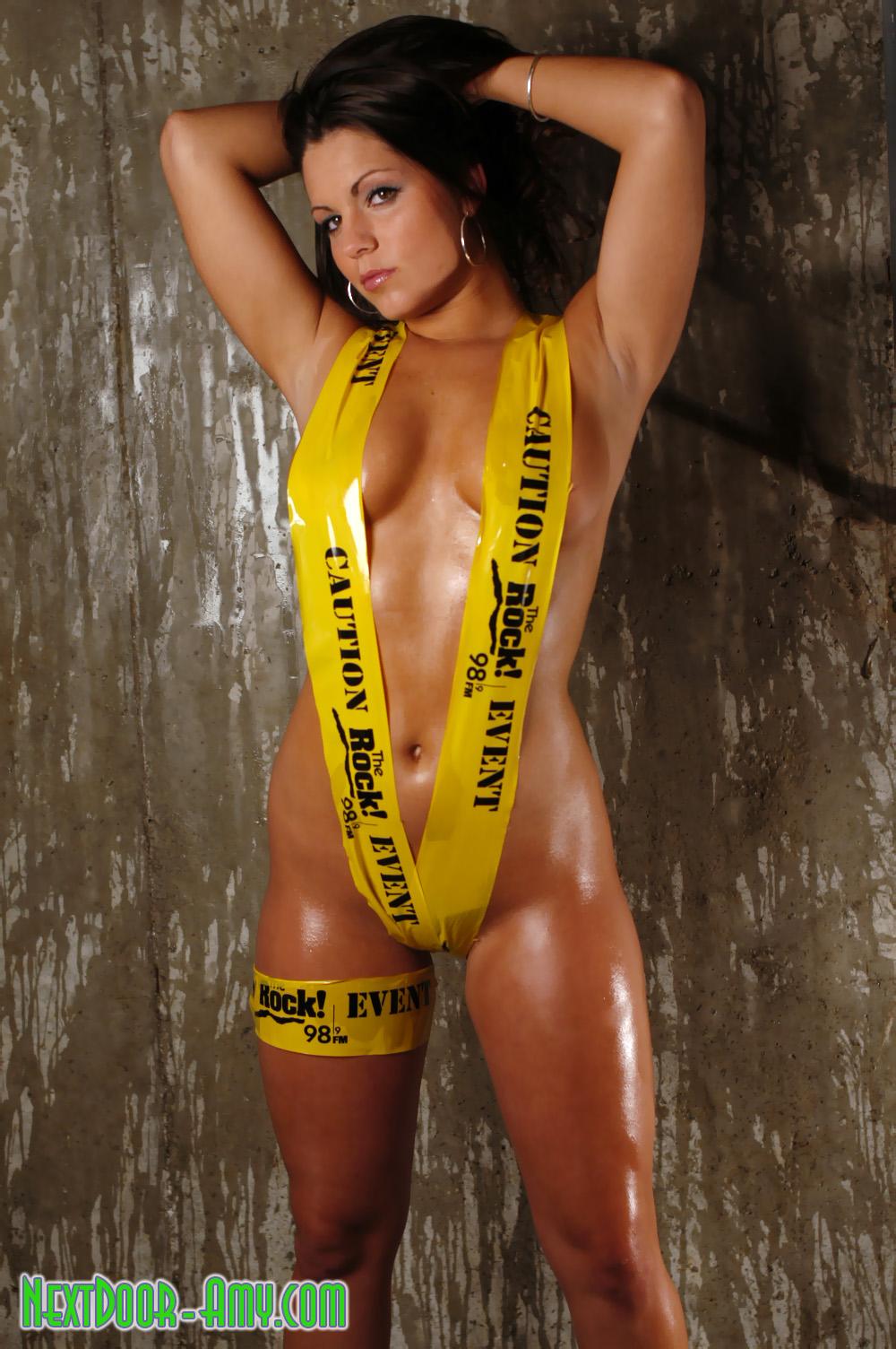 Bikini made with caution tape