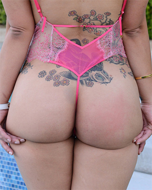 Briana Lee XX Lace Bikini Poolside