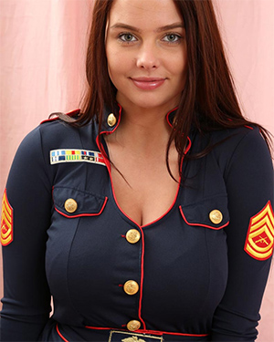 Busty Kay Tries On Uniforms