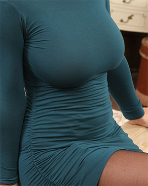 Stacey Poole tight dress big boobs