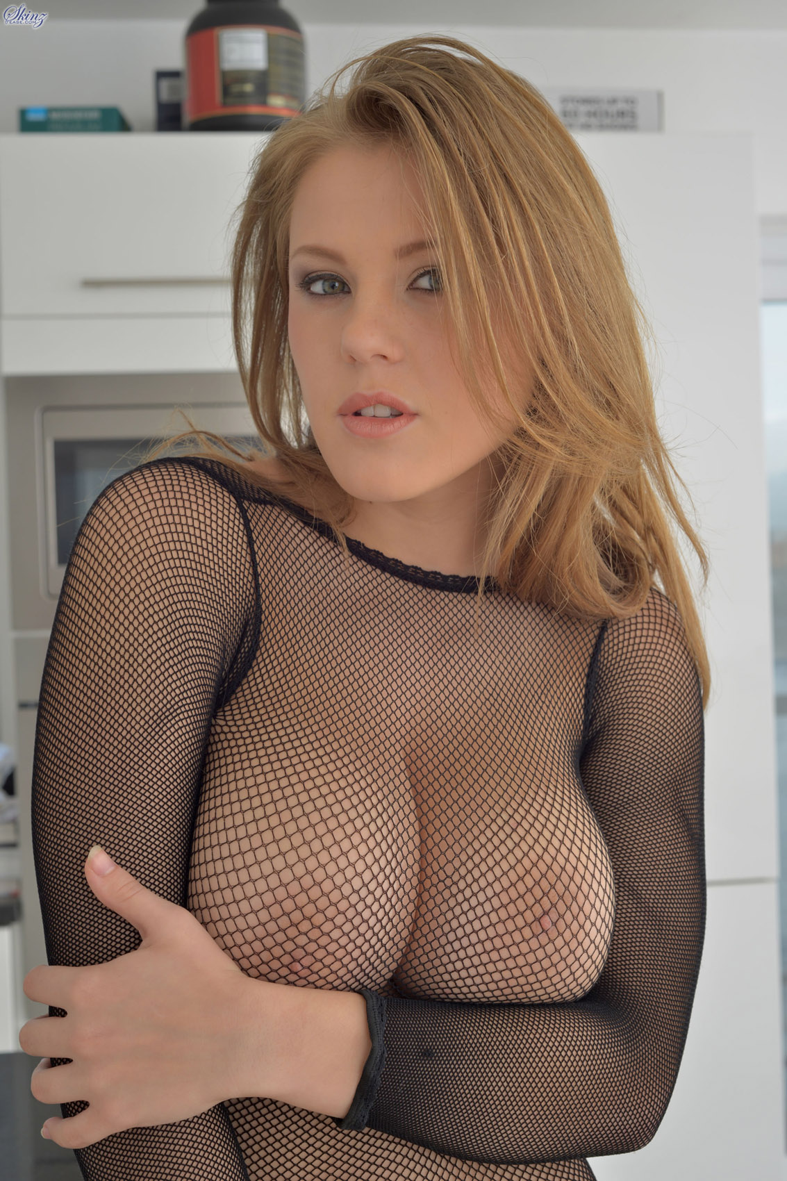 In fishnet lady naked